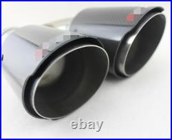 2X H-Style Car Dual Pipe Muffler Exhaust Pipe Tip 63mm-89mm Glossy Carbon Fiber