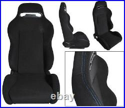 NEW 2 BLACK BLUE STITCH RACING SEAT RECLINABLE with SLIDER ALL MAZDA