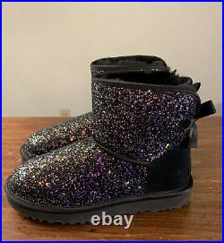 Ugg Black Mini Bailey Bow Cosmos Sparkle Womans Boots/ Size 7 Authentic 1107073