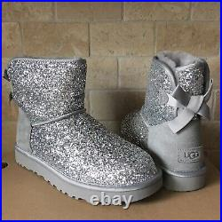 Ugg Classic Mini Bailey Bow Cosmos Silver Sparkle Boots Size Us 8 Womens